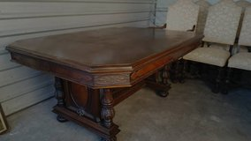 Solid walnut wood antique dining room set - LOWER PRICE in Morris, Illinois