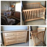 Gorgeous Natural Wood Crib and 6 Drawer Dresser in Naperville, Illinois