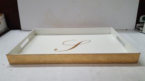 """Home Goods Gold/Off White Monogram """"L"""" Serving Tray 12"""" x 18"""" in The Woodlands, Texas"""