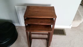 Pottery Barn Acacia Wood Grainger Nesting Tables in Morris, Illinois