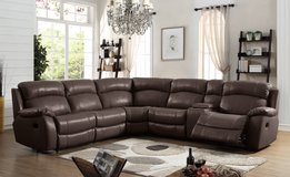 TOP GRAIN LEATHER SECTIONAL WITH POWER RECLINERS AND USB PORTS in Riverside, California