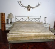 Galvanized Steel American Kingsize Bed Frame with Mattress , Nightstands and Closet in Ramstein, Germany