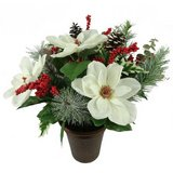 "Holiday Time 16"" White Magnolia Mixed Pot -  NEW! in Aurora, Illinois"