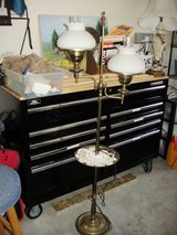 Brass floor table amp with milk glass shade and glass chimneys (vintage) in Camp Lejeune, North Carolina