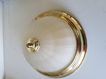 Smoked glass w/brass/gold trim light fixtures ~ Set of two (2) in Yucca Valley, California