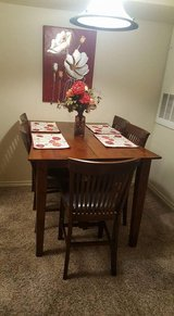 Beautiful dark wood high 6 chair dining room table with extended leaf. 1 year old very little us... in Las Cruces, New Mexico