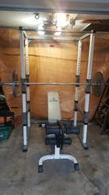 Squat rack, bench and 300 lb. olympic weights with bat in bookoo, US