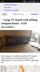 Large TV Stand with sliding compartments in San Diego, California