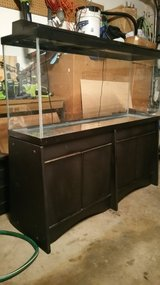 Aquarium 55 Gallon Tank With Wood Cabinet Stand Hood Lights, filter, heater, power head. in Alamogordo, New Mexico