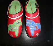 Girl's Size 12 Hanna Anderssen Red Leather Clogs in Ruidoso, New Mexico