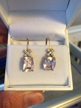 Pink Quartz/Diamond Drop Earrings in Camp Lejeune, North Carolina