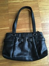 Black leather handbag/purse, only used once. in Ramstein, Germany