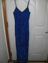 BEAUTIFUL BLUE LONG SEQUENCE DRESS-SIZE SMALL in DeKalb, Illinois