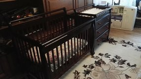 Convertible crib and changing table with dresser and marttrass in Ramstein, Germany