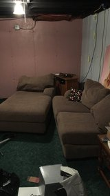 Micro suede couch with chaise in DeKalb, Illinois