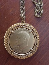 2 Vintage 1972 Silver Dollar Pendants with Chains - 1 Gold &  1 Gold with Crystals in Glendale Heights, Illinois