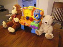 Two Stuff Animals with Fisher Price Electric Work Bench in Temecula, California