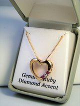 Pink Ruby & Diamond Accent Heart Sterling Silver Necklace in Camp Lejeune, North Carolina