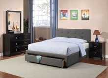 GREY TUFTED QUEEN BED FRAME FREE DELIVERY in Huntington Beach, California