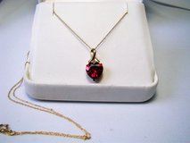"10K Gold Ruby Heart Design w/ Diamond Accent 19"" Necklace in Camp Lejeune, North Carolina"
