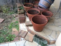 Clay Pots, Pavers, Bricks, Dirt, Large tropical potted plant in Okinawa, Japan