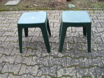 2 green plastic stools in Ramstein, Germany