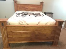 Queen bedroom set. 4 piece. Sturdy wood in Travis AFB, California