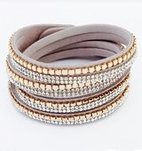 Crystal Multilayer Rhinestone Leather Bracelet in San Diego, California
