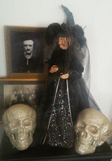 Halloween Witch and gothic decor, skulls, Poe in Yucca Valley, California