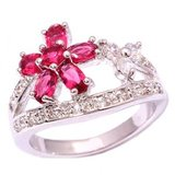 New - Red Kunzite Flower Ring - Size 5 1/2 in Alamogordo, New Mexico