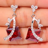 New - Garnet and White Topaz Earrings in Alamogordo, New Mexico
