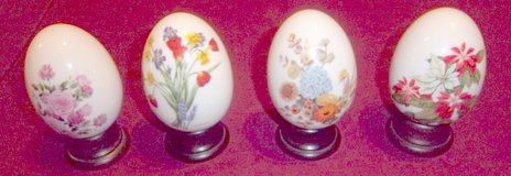 Four Avon eggs: Spring Summer Autumn and Winter with Stands 1987-1988 in Alamogordo, New Mexico
