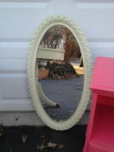 Shabby chic pale green oval mirror in Westmont, Illinois