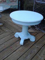 Shabby chic blue pedestal table in Wheaton, Illinois