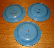 3 very old blue plates (metal) in Grafenwoehr, GE