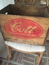 vintage wooden shipping crate with Cott Beverages logo in Camp Lejeune, North Carolina