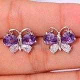 New - Butterfly Amethyst and White Topaz Stud Earrings in Alamogordo, New Mexico