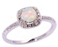 New - White Fire Opal Silver Ring - Size 5 in Alamogordo, New Mexico
