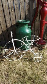 Old metal bike planter yard decor in Elgin, Illinois