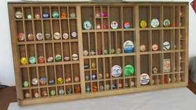 Vintage Political Buttons with Shadow Box Printers Drawer in Elgin, Illinois