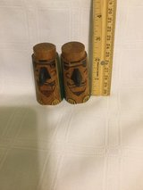 SALT PEPPER SHAKERS TOTEM POLES  WOODEN USED in Okinawa, Japan