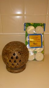 STONE VOTIVE HOLDER AND 8PK VEGETABLE VOTIVE CANDLES in Honolulu, Hawaii