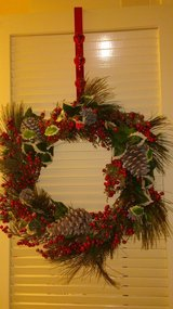 CHRISTMAS BERRY/CONE WREATH WITH DOOR HANGER - REDUCED $25 TO $20!!! in Okinawa, Japan