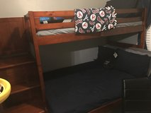 Full and Twin Size Bunk bed with 4 chest dresser drawer attached and steps in Moody AFB, Georgia