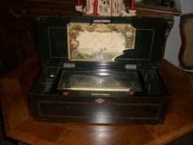 Napoleon III at 1870, SWISS 10 TUNE CYLINDER MUSIC BOX BY DEALER in Stuttgart, GE