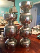 REDUCED Again : Pair of Hammered Metal Pedestal Candle Holders 18 1/2 and 14 inches tall in Clarksville, Tennessee