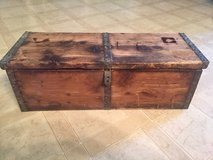 REDUCED AGAIN: Old Wooden Box- 22 5/8 x 7 1/2 x 8 with metal trim and rivets in Fort Campbell, Kentucky
