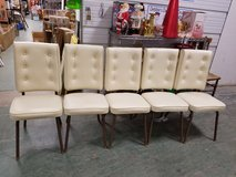 5 Vintage Retro 50's style Cream vinyl padded metal framed chairs in Naperville, Illinois