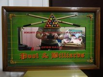 3D 8 BALL SPORTS BAR & CAFE POOL & BILLIARD WOOD FRAMED MIRROR in Travis AFB, California