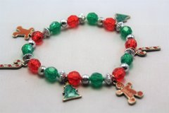 Red Green Christmas Gingerbread Man Tree Holly Jingle Bells Stretch Bracelet in Kingwood, Texas